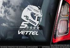 Sebastian Vettel - F1 Car Window Sticker - Ferrari #5 HELMET Formula 1 Sign- V02