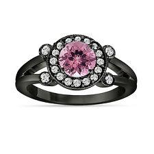 Pink Tourmaline and Diamond Engagement Ring 14k Black Gold Vintage Style 1.12 Ct