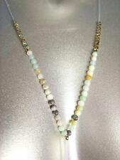 CHIC Urban Anthropologie Natural Jade Agate Stones Gold Beads Long Drop Necklace