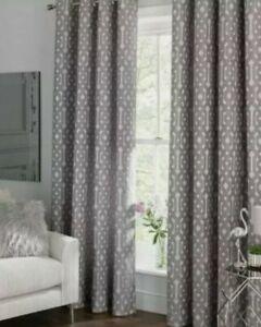 Argos Home Flint Jacquard Geo Lined Eyelet Curtains 229x229cm 90x90