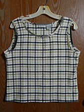 "Cabin Creek 40"" Bust Large Black White & Beige Plaid Tank Top/Sleeveless Blouse"