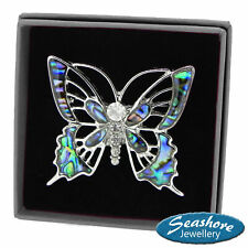 Butterfly Brooch Paua Abalone Shell Badge Ladies Silver Fashion Jewellery Gift