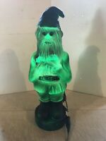 Spooky Halloween Zombie Gnome Red Eyes Green Lighted Great Night Light Blow Mold
