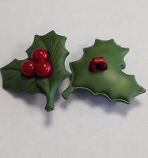 Christmas Holly/Berry Buttons Novelty 25x29MM Pack Of 6