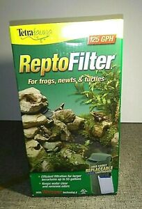 Tetra Repto Filter for Frogs Newts & Turtles- to 55 Gal.125GPH-Removes odor-NEW