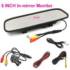 """5"""" LCD Car Rear View Mirror Monitor + 4 LEDs Car Backup Rear View Camera Kits"""