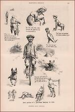 BICYCLE RIDERS in Summer, Funny Sketches by Kemble, antique print 1900