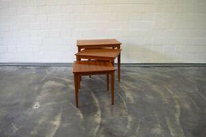 50er 60er Jahre Teak 3 Satz Tische, Tische, Beistelltische.