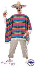 Mexican Costume Poncho & Sombrero Amigo Fancy Dress Honcho