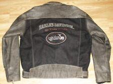 Harley Davidson VTG Distressed Leather & Denim Embroidered V-Twin Jacket Small