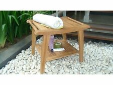 "20"" A GRADE TEAK WOOD BATHROOM SHOWER SPA STOOL BENCH SHELF GARDEN PATIO OUTDOOR"