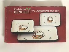 Vintage Christmas Memories Lacquerware Nesting Serving Trays Set of 3 Goose