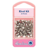 Hemline Nickle Silver Jeans Rivets 7mm Pack Reinforcing Pockets Bags Accessories