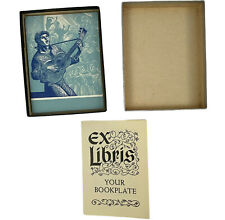 VTG Antioch Bookplate Guitar Lute Orchestra Blue Partial Box 30/50
