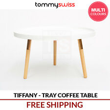 TOMMY SWISS: Scandinavian Round Tray Coffee Table w Rose Gold Colour Legs