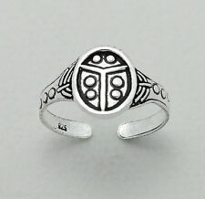 Tjs 925 Sterling Silver Antique Ladybug Design Toe Ring Adjustable Jewellery