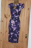 Purple floral stretch galaxy pencil wiggle evening party dress size 10 12