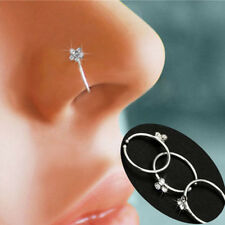Thin Flower Crystal Rhinestone Nose Ring Stud Hoop-Sparkly Non-Pierced Jewelry