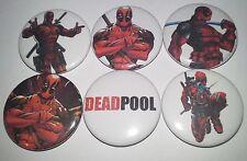 6 Deadpool pin button badges 25mm Marvel comics Dead Pool