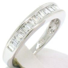 NEW Solid 14k White Gold 0.75ctw Channel Set Vertical Baguette Diamond Band Ring
