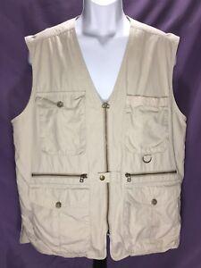Eddie Bauer Mens Med Safari Hunting Fishing Olive/Khaki Vented 100% Cotton Vest