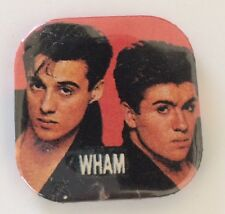 """Vintage 80s Wham band pinback button pin Uk badge George Michael 1.5"""" New Wave"""