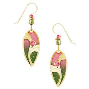 Adajio Sunset Ombre Teardrop Pierced Earrings Pink & Green  ~Made in Colorado~