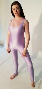 """Lilac Shiny Lycra Sleeveless Catsuit Dance Unitard Spandex Large UK 14 38"""""""