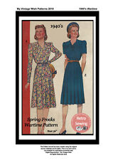 1940s Afternoon Tea Frock Wartime Sewing Pattern - Reproduction