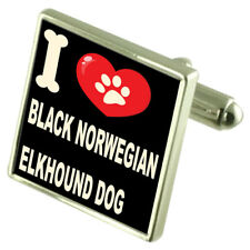 I Love My Dog Silver-Tone Cufflinks Black Norwegian Elkhound