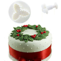 2Pcs Holly Leaf Christmas Cake Decorating Plunger Cutter Mold Fondant Cookie set