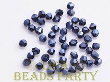 New 100pcs 4mm Bicone Faceted Crystal Glass Loose Spacer Beads Shiny Black