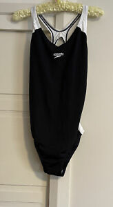 SPEEDO Endurance Size 16 Black and White One-piece Swimsuit Swimmers Togs Racer