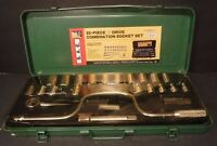 """New Pro Brand SAE 25-Piece Combination Socket Set 1/2"""" Drive 6 Point Metal Case"""