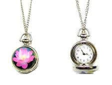 Ladies Silver Pink Flower Pocket Quartz Watch Necklace Pendant Chain Gift Women