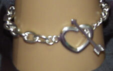 New 925 Sterling Silver Heart and Arrow Toggle Clasp Bracelet