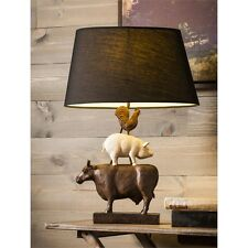 French Country Cottage Farmhouse - Resin Lamp Farm Animal Cow Pig Rooster