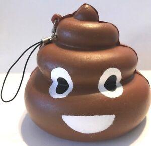 Smiley Emoji Poo Slow Rising Squisssshy Cell Phone Charm Poop Pooh w/Strap