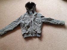 Ladies Parka Coat Jacket.Green khaki.Size 14. Fur lined hood with zip detail.