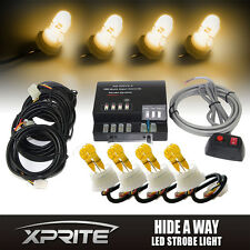 Xprite Amber 120W HID 4 Bulbs Hide-AWay Emergency Hazard Warning Strobe Lights