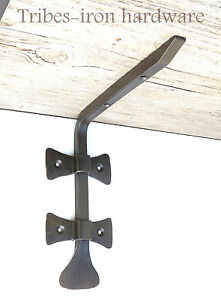 "Pair of Wrought Iron 6.8"" Shelf Brackets Rustic Metal Handmade Wall Decor Holder"