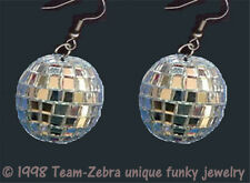 DISCO BALL EARRINGS-MIRROR-Glass Dance Club Rave Party DJ Funky Jewelry-1-inch