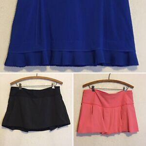 Lululemon 3 Skort Skirt Lot 10/12~Pace Rival Black/Court Rival Pink/Pleated Blue