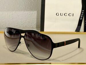 Gucci Men's Sunglasses GG2252 M7A Black Matte/Grey Lens Aviator 62mm
