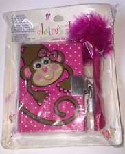 Claire's Club Scented Pink Monkey Diary with Lock & 2 Key with Fur Pen