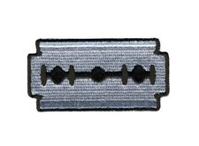 RAZOR BLADE EMROIDERED IRON ON MC BIKER OUT LAW  PATCH