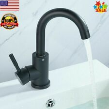 Stainless Steel Bathroom Basin Sink Hot/Cold Water Tap Single Faucet Black New
