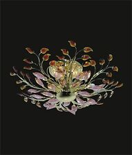 """New! GOLD Ceiling SEMI-FLUSH Mount BROWN AND PINK CRYSTAL (D26"""" x H9"""") 8 Lights"""