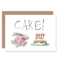 Birthday Hungry Hare Cake Fun Blank Greeting Card With Envelope