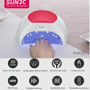 SUN 2C 48W Lampada Unghie UV LED tutti i Gel 33 Perline sensore a infrarossi